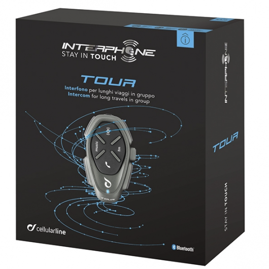 INTERPHONE TOUR MOTORCYCLE BLUETOOTH INTERCOM HEADSET SINGLE PACK