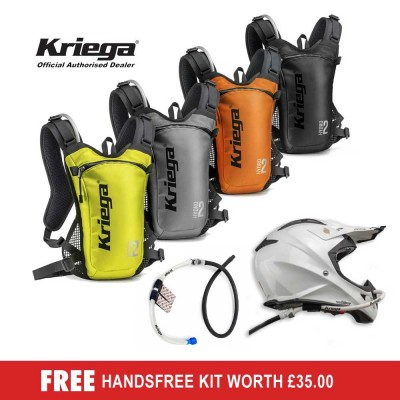 Kriega Hydro 2 hydration backpack - FREE HANDSFREE KIT