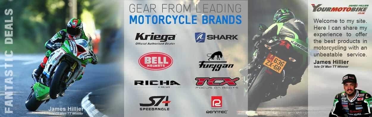 Kriega Backpacks, TCX Boots, Healtech Quick Shifters, Drift Cameras, Renntec Bike Racks